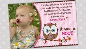 Thank You Cards for 1st Birthday Items Similar to Look whoos Turning One Thank You Card