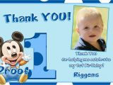Thank You Cards for 1st Birthday Mickey Mouse 1st Birthday Thank You Cards