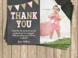 Thank You Cards for 1st Birthday One First Birthday Girl Coral Pink Gold Printable Photo Thank
