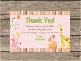 Thank You Cards for 1st Birthday Sweet Safari First Birthday Thank You Card Printable