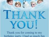 Thank You for Coming to My Birthday Cards Frozen Movie Thank You Card Personalized Party Invites