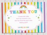 Thank You for Coming to My Birthday Cards Items Similar to Rainbow Thank You Card Rainbow