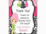 Thank You for Coming to My Birthday Cards Spa Party Invitations Party Invitations Templates