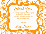 Thank You for Coming to My Birthday Cards White orange Swirl Deco Birthday Party Thank You Cards