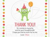 Thank You for Your Birthday Card Monster with Three Eyes Balloon and Party Hat Birthday