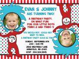 Thing 1 Thing 2 Birthday Invitations Dr Seuss Thing 1 Thing 2 Twins Birthday Party Invitation