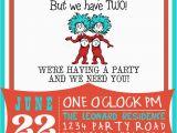 Thing 1 Thing 2 Birthday Invitations Dr Suess Thing 1 Thing 2 Birthday Invitation by
