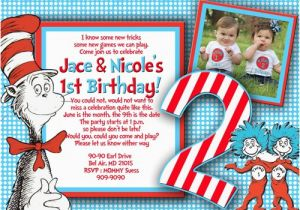Thing 1 2 Birthday Invitations And Party
