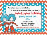 Thing 1 Thing 2 Birthday Invitations Thing 1 and Thing 2 Printable Twin Birthday Party Invitation
