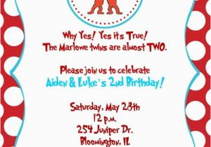 Thing One And Two Birthday Invitations 1 2 Party