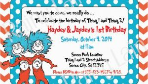 Thing One and Thing Two Birthday Invitations Thing 1 and Thing 2 Printable Twin Birthday Party Invitation