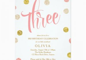 Third Birthday Invitation Wording Third Birthday Invitation Pink and Gold Card Zazzle Com