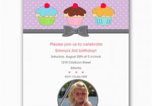 Third Birthday Invitation Wording Three Cupcakes Girl Third Birthday Invitations Paperstyle