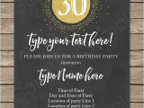Thirtieth Birthday Invitations Chalkboard 30th Birthday Invitations Template Gold Glitter