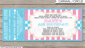 Ticket Birthday Invitation Template Carnival Party Ticket Invitations Template Carnival or