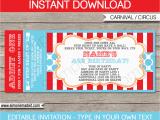 Ticket Birthday Invitation Template Circus Ticket Invitation Template Carnival or Circus Party