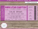 Ticket Birthday Invitation Template Rock Star Party Ticket Invitations Template Purple