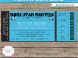 Ticket Birthday Invitation Template Rockstar Party Ticket Invitation Template Blue Birthday