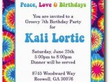 Tie Dye Birthday Party Invitations Items Similar to Tie Dye Invitations Hippie Chick On Etsy