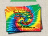 Tie Dye Birthday Party Invitations Rainbow Tie Dye Birthday Party Invitation 60s 70s Hippy