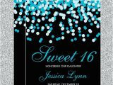 Tiffany Blue Birthday Invitations Tiffany Blue Black Confetti Sweet 16 Invitations