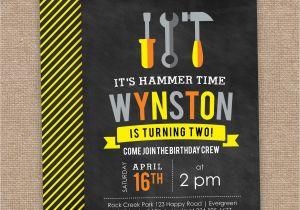 Tool Birthday Party Invitations 2nd Invitation Construction Theme Caution
