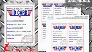 Top Gun Birthday Card top Gun Id Cards Birthday Party Tags