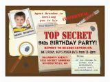 Top Secret Birthday Invitations Secret Agent Spy top Secret Birthday Party Invite 5 Quot X 7