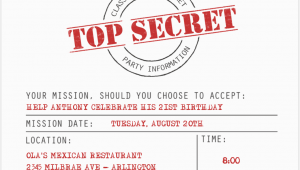 Top Secret Birthday Invitations top Secret Party Invitations Cimvitation