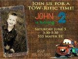Tow Mater Birthday Invitations Disney Inspired Cars tow Mater Birthday Invitation