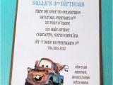 Tow Mater Birthday Invitations Items Similar to Mater Birthday Party Invitation Cars