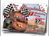 Tow Mater Birthday Invitations tow Mater Cars Movie Invitation Card by Cardsbyrachelzamora