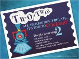 Train themed Birthday Invitations Two Two Train themed 2nd Birthday Party Invitation Print Your