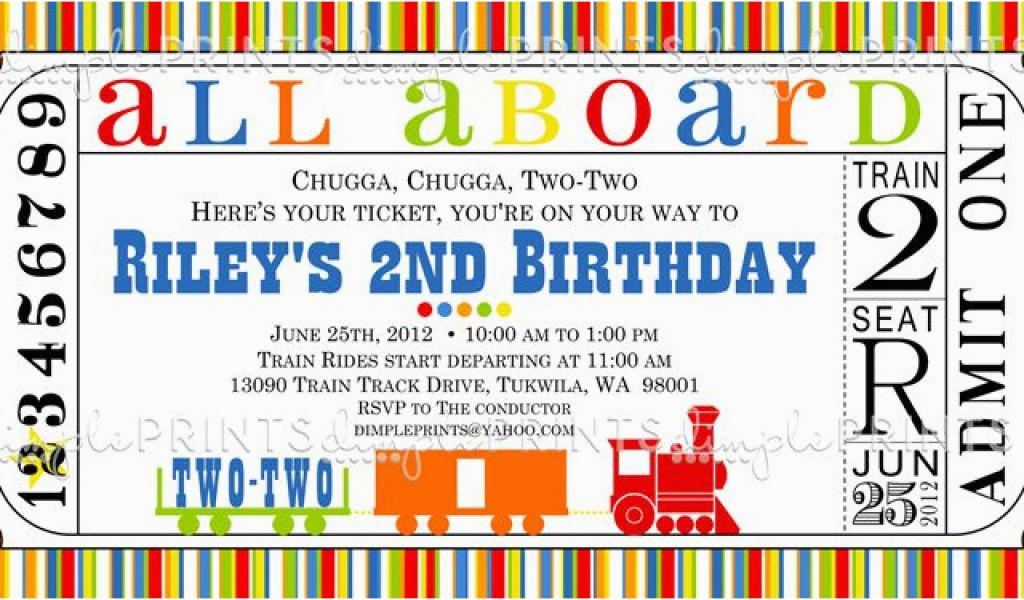 photograph about Printable Train Track Templates named Coach Ticket Birthday Invitation Template 9 Prepare Birthday