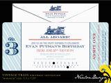 Train Ticket Birthday Invitation Template Nealon Design Vintage Train Ticket Birthday Invitation