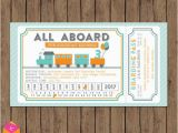 Train Ticket Birthday Invitation Template Train Ticket Invitation All Aboard Turquoise orange Gray