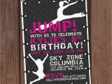 Trampoline Park Birthday Party Invitations Girl Jump Trampoline Park Birthday Party Invitation