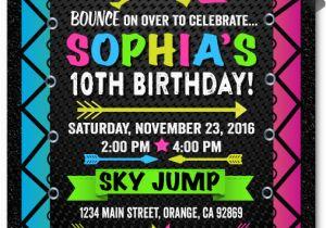 Trampoline Park Birthday Party Invitations Neon Jump Di 647