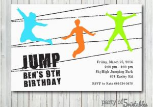 Trampoline Park Birthday Party Invitations Invitation Jump Jumping