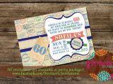 Travel themed Birthday Cards Travel theme Milestone Birthday Invitation 30th 40th