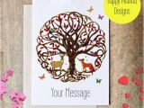 Tree Of Life Birthday Card Personalized Card Tree Of Life Fox Card Stag Card