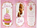Tri Fold Birthday Invitations Pink and Gold 1st Birthday Tri Fold Invitations
