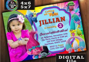 Trolls Birthday Invitations Walmart Trolls Movie Birthday Invitation Custom Digital File Any