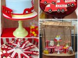 Truck Decorations for Birthday Party Kara 39 S Party Ideas Vintage Fire Truck themed Birthday