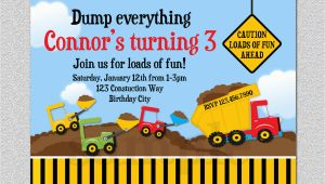 Truck themed Birthday Invitations Construction Birthday Invitation Boys Truck Birthday Party