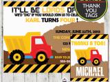 Truck themed Birthday Invitations Construction Birthday Party Invitation D1 Cupcakemakeover