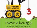 Truck themed Birthday Invitations Crane Construction Truck Birthday Party Invitation by