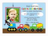 Truck themed Birthday Invitations Dump Truck Construction theme Birthday Party Invitation You