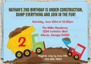 Truck themed Birthday Invitations Dump Truck Invitation Dump Truck Birthday by Invitationblvd