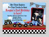 Truck themed Birthday Invitations Monster Truck Birthday Invitation Truck Birthday Party